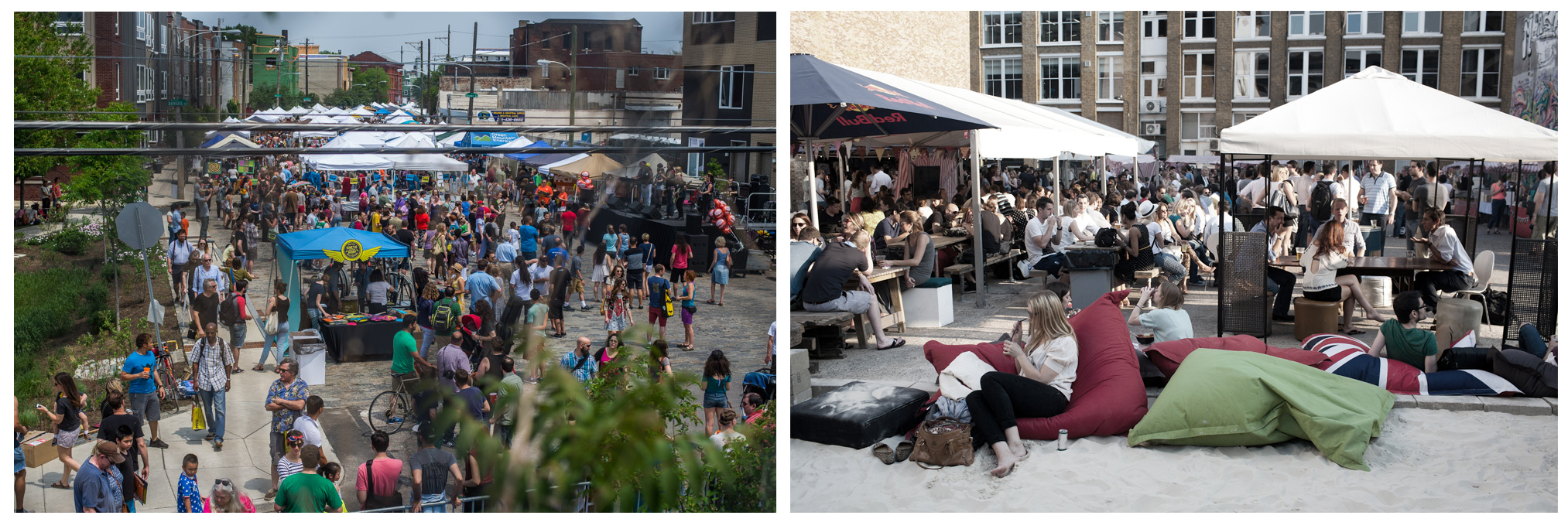 A street festival in Fishtown, and a street festival in Shoreditch.