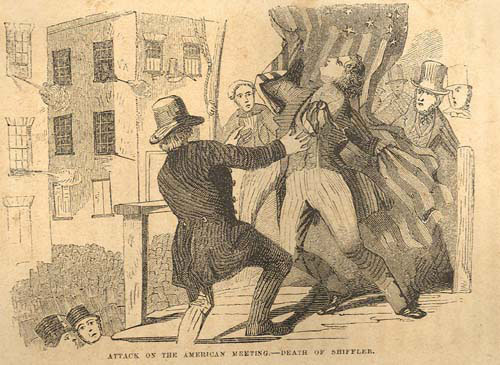Sensational print showing the death of the 18-year old Nativist, the first person killed in the Nativist Riots at Kensington on May 6, 1844. Death of George Shifler in Kensington. By John L. Magee. Library Company