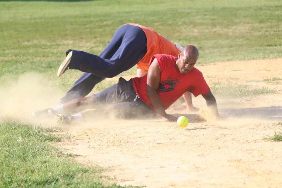 Brandon Mundy makes it safely to third base during the 10th annual Step Up to the Plate: Strike Out Violence softball game. /Kaitlyn Moore