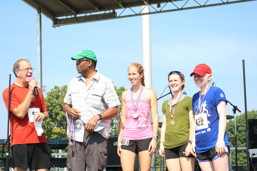 The top three women's division winners of the fifth annual Boxers' Trail 5k pose for a photo.
