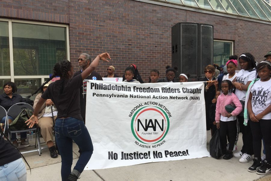 The Philadelphia Freedom Riders Chapter of the Pennsylvania National Action Network (NAN) held a banner at the march.