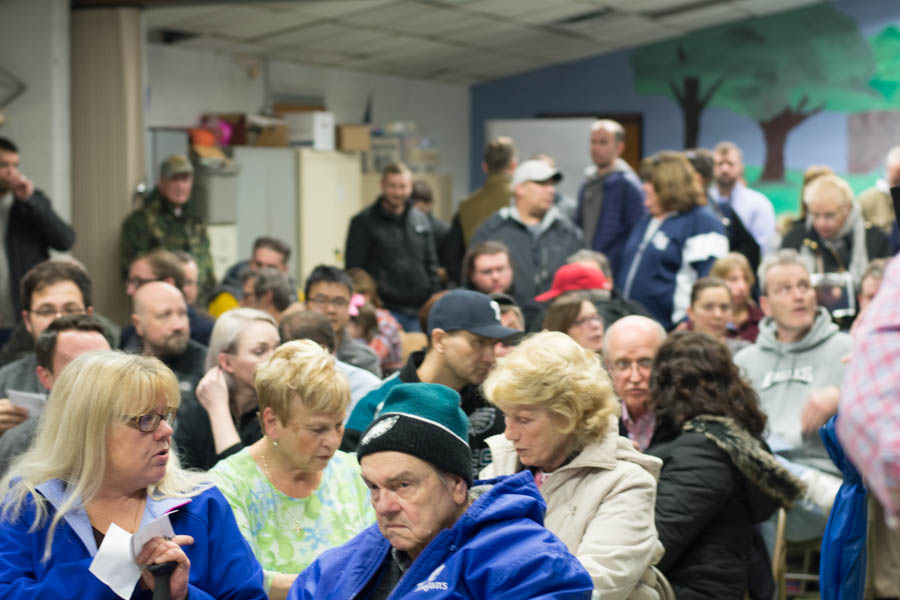 Around 100 people filled FIshtown Recreation Center for the zoning meeting./Steve Bohnel