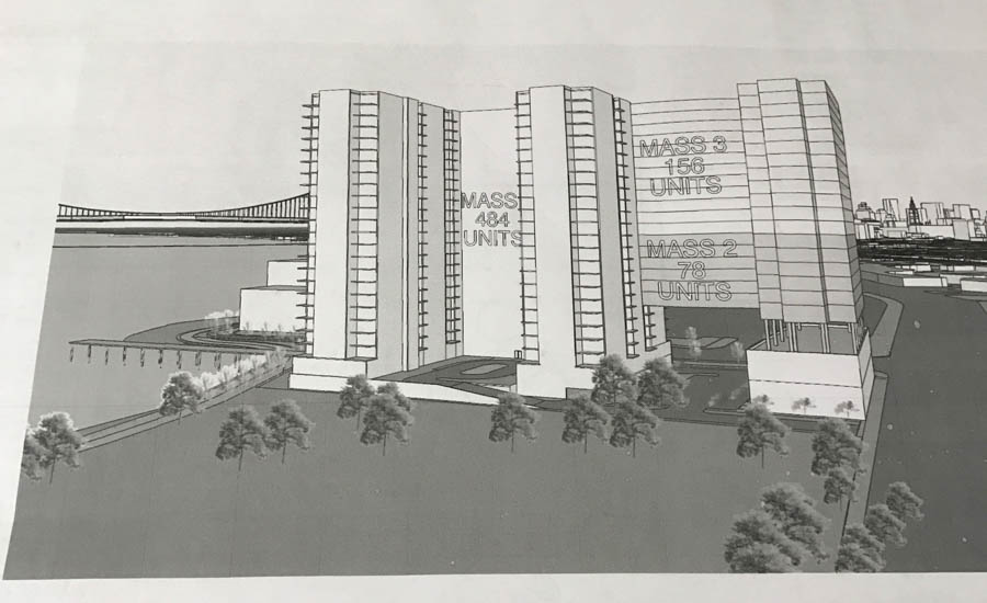This rendering given to Spirit News depicts a large hotel development between Penn Treaty Park and SugarHouse.