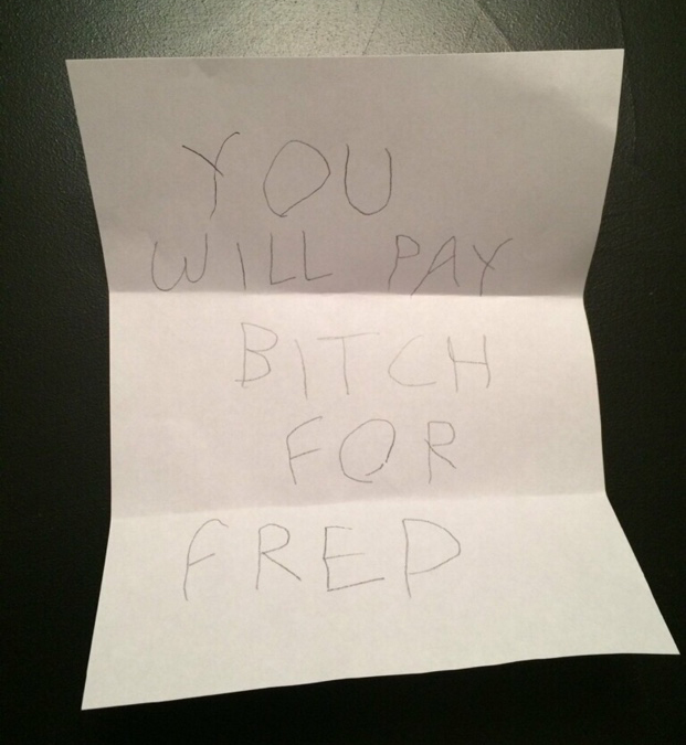 Lucinda Little received this written threat at her house.