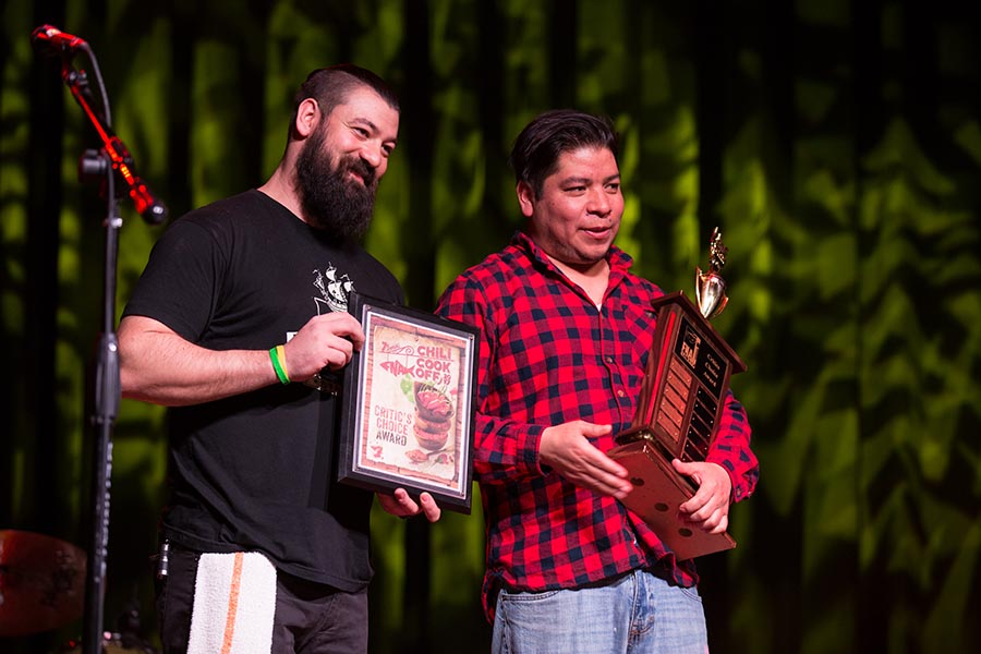Nick Bellenzeni (left) and Adan Trinidad (right) of Sancho Pistola's hold their trophies after being announced as winners of the Critic's Choice Award. /Patrick Clark
