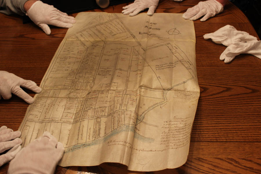 According to Penn archivist Jim Duffin, this copy was made in the 1840's and depicts the original map of Kensington from the mid 1700s.