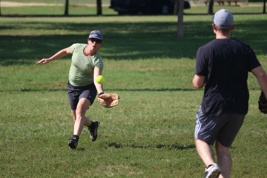 Philadelphia Division of the FBI player, Janelle Miller, makes a catch during the 10th annual Step Up to the Plate: Strike Out Violence softball game. /Kaitlyn Moore