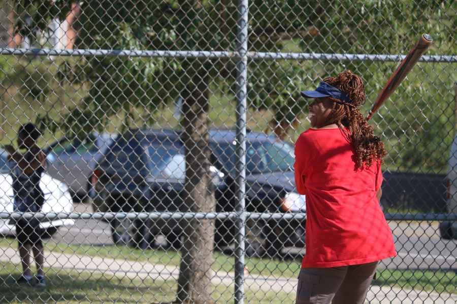 Tonetta Graham, steps up to plate in support of Strawberry Mansion on August 30, 2016./Kaitlyn Moore