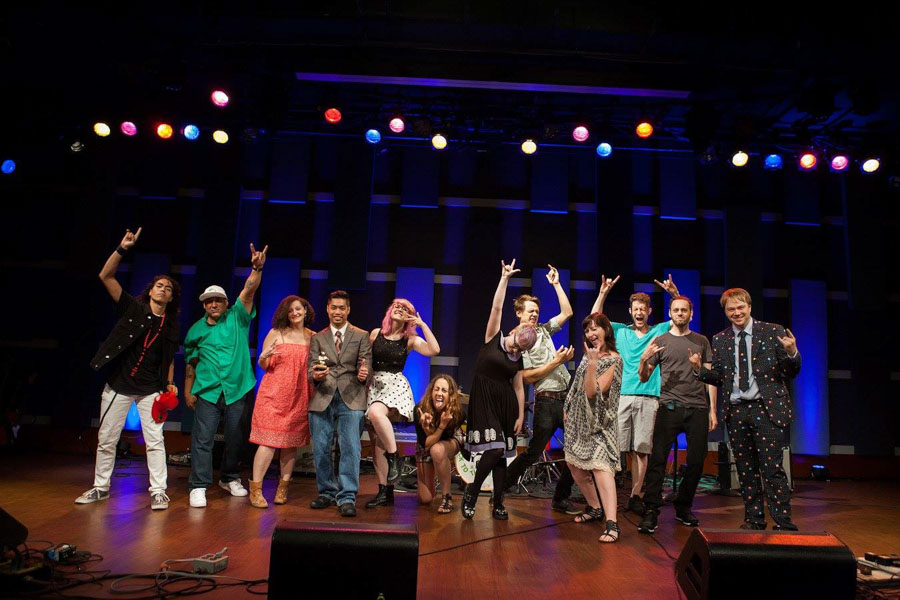 The Rock to the Future team posing at the MusiCore showcase at World Cafe Live./Chris Kendig