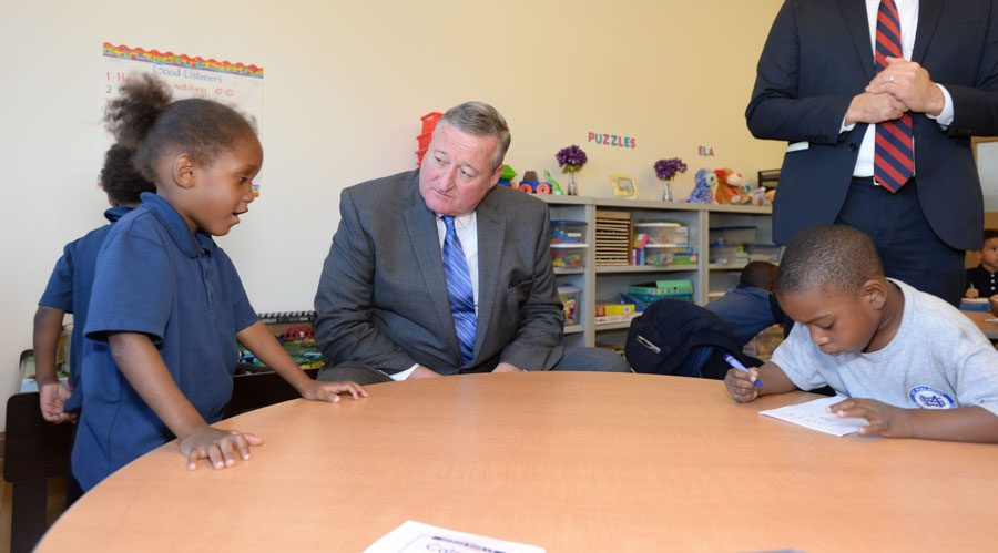 Mayor Jim Kenney with St. Malachy Students