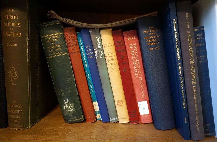 A few of Harry's 2700 books on Philadelphia./Jacquie Mahon