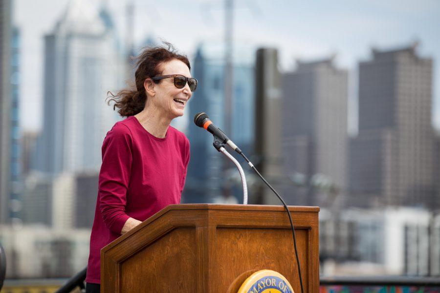 Jane Golden speaks at the dedication of the Spring Garden Street Bridge mural. /Patrick Clark