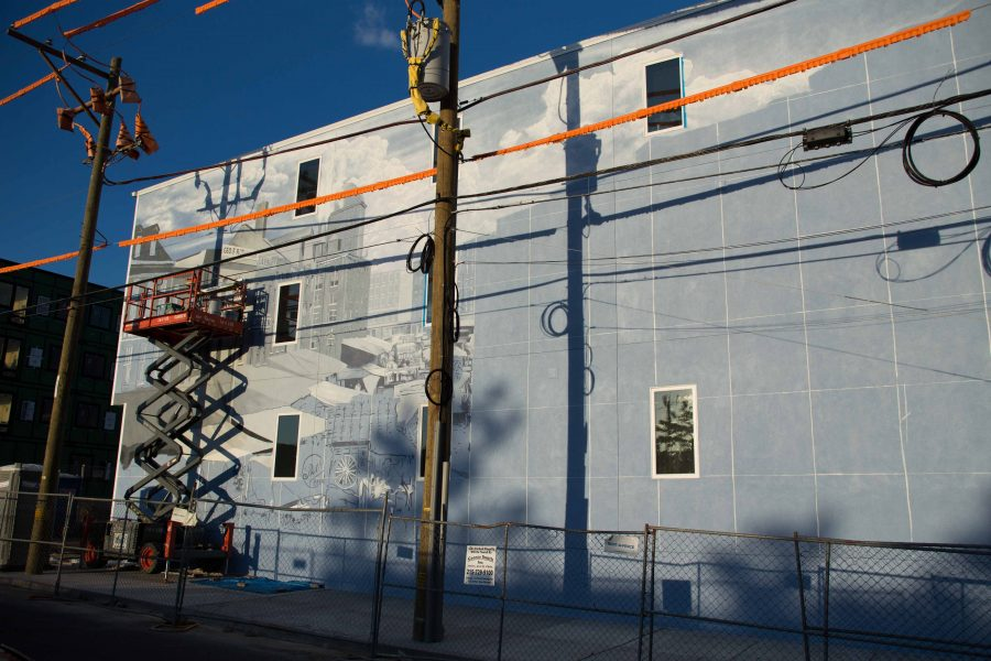 Phillip Adams' newest mural in the works at 31st and Master Streets. /Patrick Clark